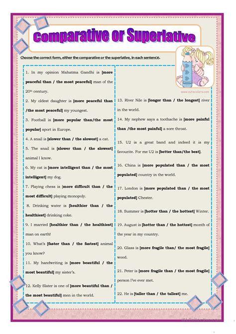 comparative  superlative worksheet  esl printable