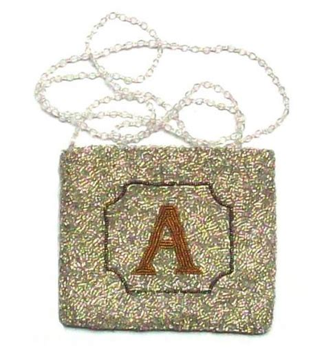 beaded initial monogram evening bag