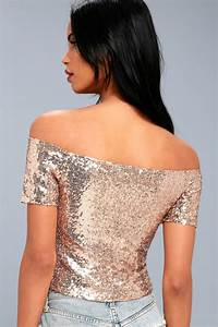 Shiny Rose Gold Sequin Top