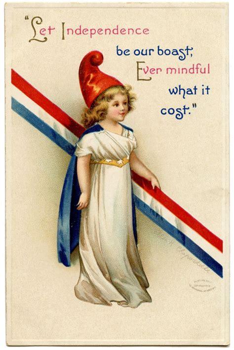 vintage patriotic image cute girl  graphics fairy