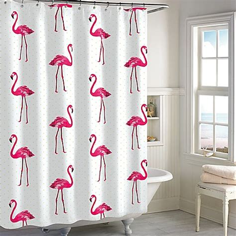 flamingo shower curtain flamingo shower curtain in pink bed bath beyond