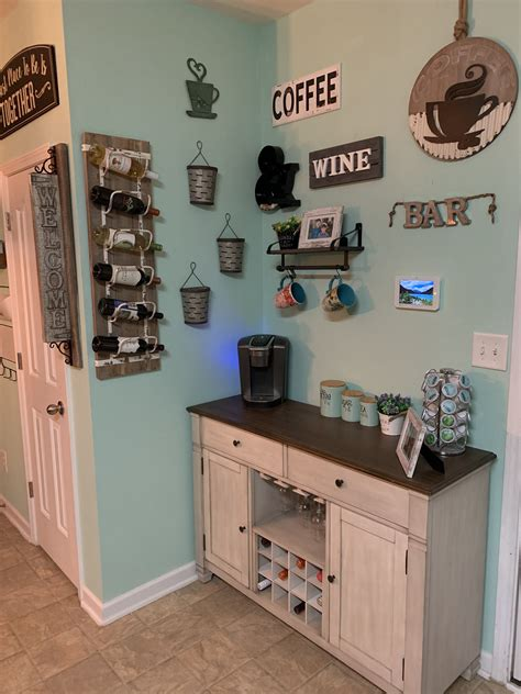 After designing and building your basement bar, finding cool decorations can be a fun hobby. Farmhouse style coffee and wine bar. | Wine bar, Coffee ...