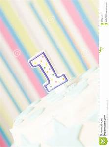 One Year Birthday Cake On The Plate Stock Image