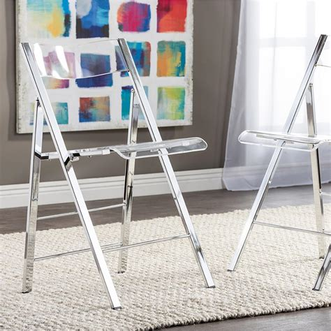 baxton studio clear acrylic folding chair set of 2 2pc