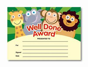well done award animal certificates With well done certificate template