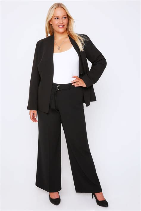 Black Crepe Wide Leg Trousers With Silver Ring Belt Plus