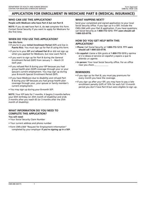 medicare part a form fillable form cms 40b application for enrollment in