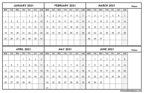 january  june  calendar template blank calendar