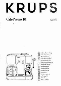Krups F865 Coffee Maker Download User Guide For Free