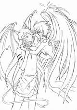 Coloring Devil Angel Demons Demon Pages Angels Haseo Deathangel Endrance Drawing Evil Printable sketch template