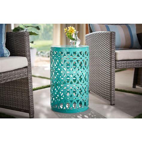 hampton bay haze blue   metal garden stool hdh