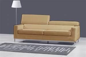 canape 2 places en cuir italien xenia beige mobilier prive With canapé cuir beige 2 places