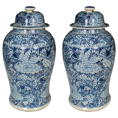 blue ginger jar ls pair of chinese blue and white floral ginger jars at 1stdibs
