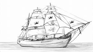 How To Draw A Pirate Ship - YouTube