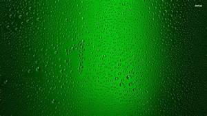 Waterdrops On Green Glass Wallpaper