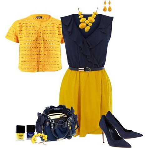 Yellow and Navy blue outfit. Great for the office. | clothing | Pinterest | The office The o ...