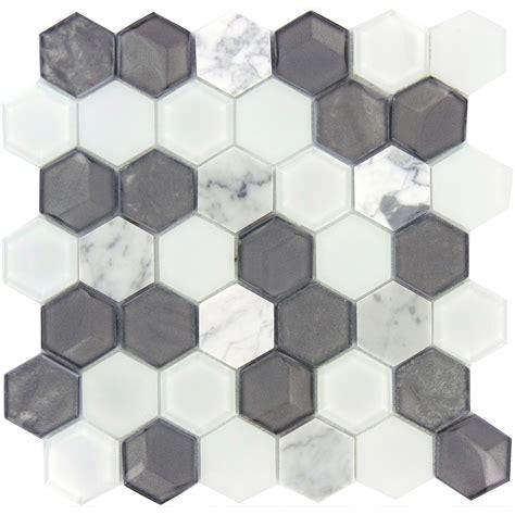 hexagon tiles hexagon silver glass and stone hexagon tile glossy polished qls 131