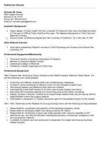 resume templates for pediatrician pediatrician resume exle for application professional bakground