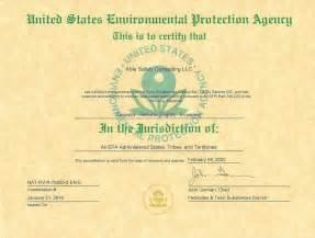 EPA Certification Certificate