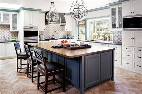 Blue Kitchen Island With Wood Countertop  Transitional