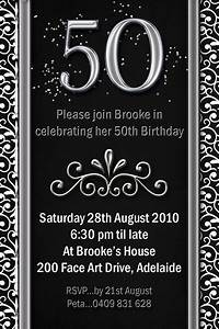 Example 50th birthday invitations flower patern silver for Template for 50th birthday invitations free printable