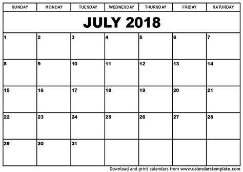 2018 Monthly Calendar Template July 2018 Calendar Template Monthly Calendar 2017