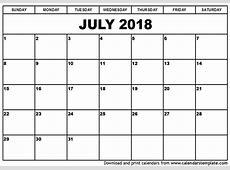 July 2018 Calendar With Holidays monthly printable calendar