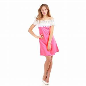 robe col bardot crochet rose fluo femme pas cher lamodeuse With robe rose fluo