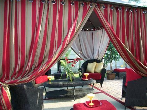 Outdoor Gazebo Patio Drapes Red, Tan Stripes (42