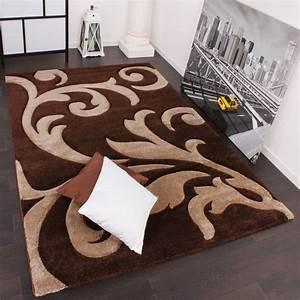 Teppich Grün Braun : designer teppich festival mit konturenschnitt muster braun beige brown creme teppiche kurzflor ~ Markanthonyermac.com Haus und Dekorationen