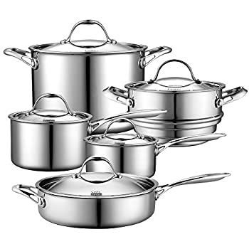 amazoncom cooks standard  piece multi ply clad cookware set stainless steel kitchen dining