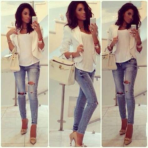 White top/white blazer ripped jeans | Jeans and Blazers Ensemble | Pinterest | Blazers Ripped ...