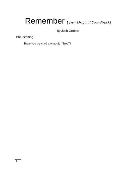 Song Worksheet Remember By Josh Groban (troy Soundtrack