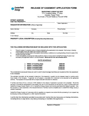 blank easement forms forms to release and easement fill online printable