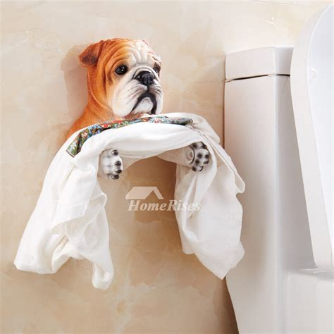 cute dog toilet paper holder wall mountno drill resin
