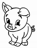 Pig Coloring Pages Printable Cute Animal Colouring Sheets Cartoon Print Baby Getcoloringpages Drawing Animals sketch template
