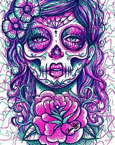 Tattoo Art Day of the Dead Girl Flash Sugar Skull Signed ...