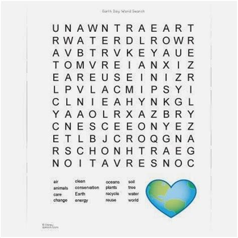 5 easy earth day word search printable for