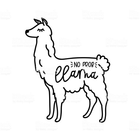 probllama vector quote  doodles llama motivational