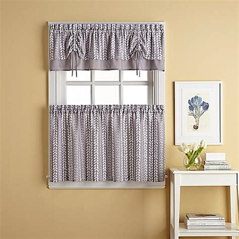 bloom window curtain tier pair  grey bed bath