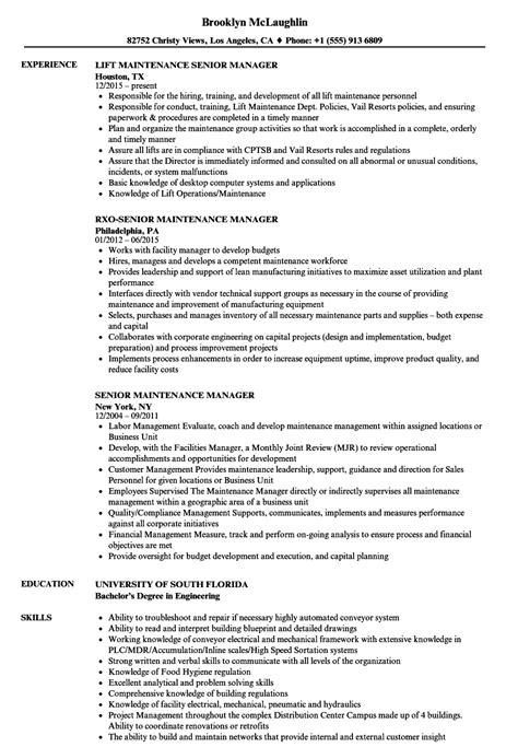 Maintenance Manager Resume by Senior Maintenance Manager Resume Sles Velvet