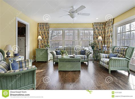 sun room  green wicker furniture stock image image