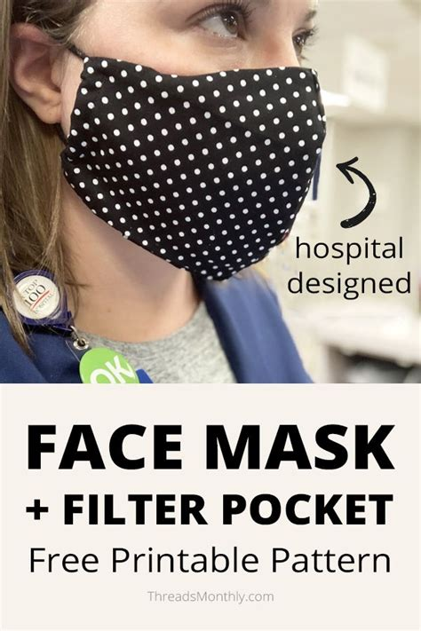 Although a cloth mask is not very effective at protecting its wearer from catching the virus, it is very pattern selection dial: Face Mask Pattern with FILTER POCKET + Free Printable ...