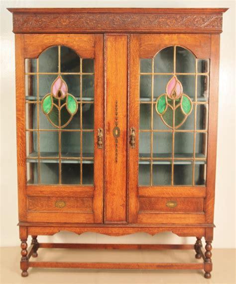 oak bookcase with doors oak bookcase with leaded light glass doors 305902