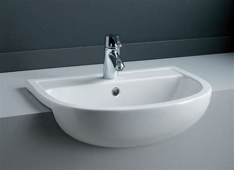 Semi Recessed Sinks by Rak Compact 1 Tap Hole Semi Recessed Basin 450mm Left Hand