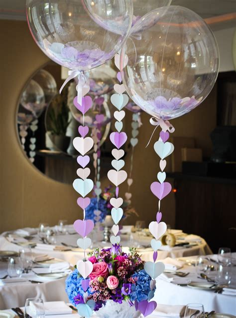 Balloon Centrepiece Table Decoration With Heart Strings