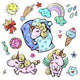 ciambella dell unicorno di kawaii illustrazione vettoriale illustrazione di glassa divertente