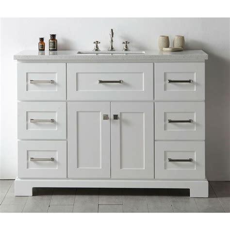 White Bathroom Vanity by Legion Quartz Top White 48 Inch Single Bathroom Vanity