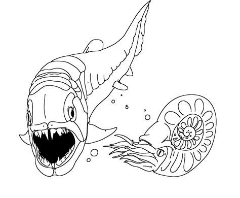 dinosauri il dunkleosteus fa vedere  suoi denti al nautilus