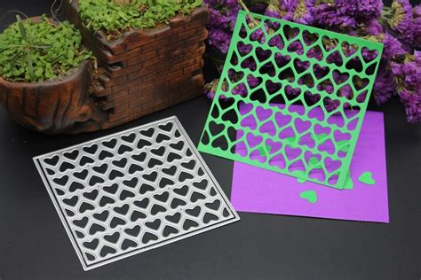 hollowed heart square frame metal embossing cutting dies